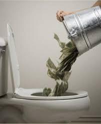 Money down toilet